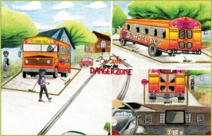 3 color drawings of school buses showing safety measures for drivers