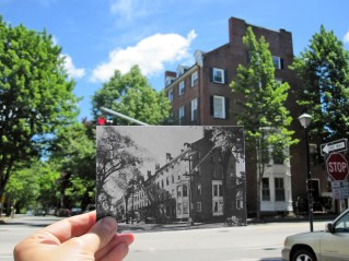 """Park Street Block, Portland, 1962. """"The block of houses between Spring and Gray streets was built in 1835 and was the largest residence row complex of its period in the state."""" Present: 2014 with a few more trees!"""