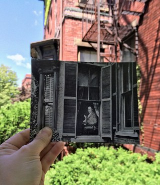 30-32 Deering Street. Thomas Brackett Reed at his window, Portland, ca. 1900 & in 2014