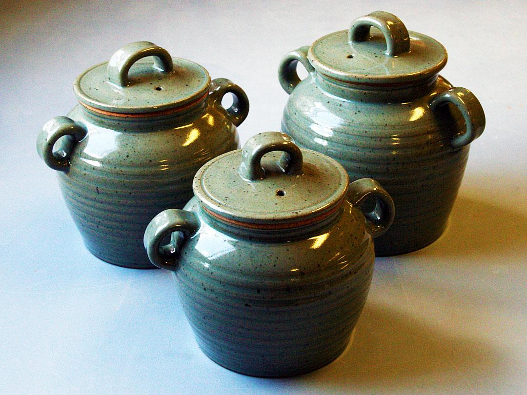 Celadon Glazed Bean Pot Set