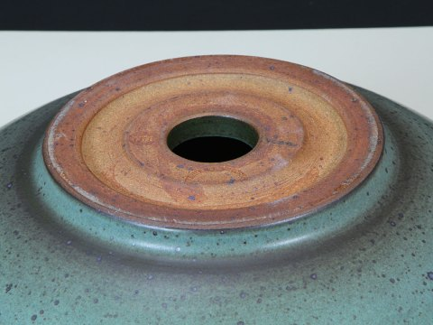 Rimmed Bath Sink With Satin Blue Glaze