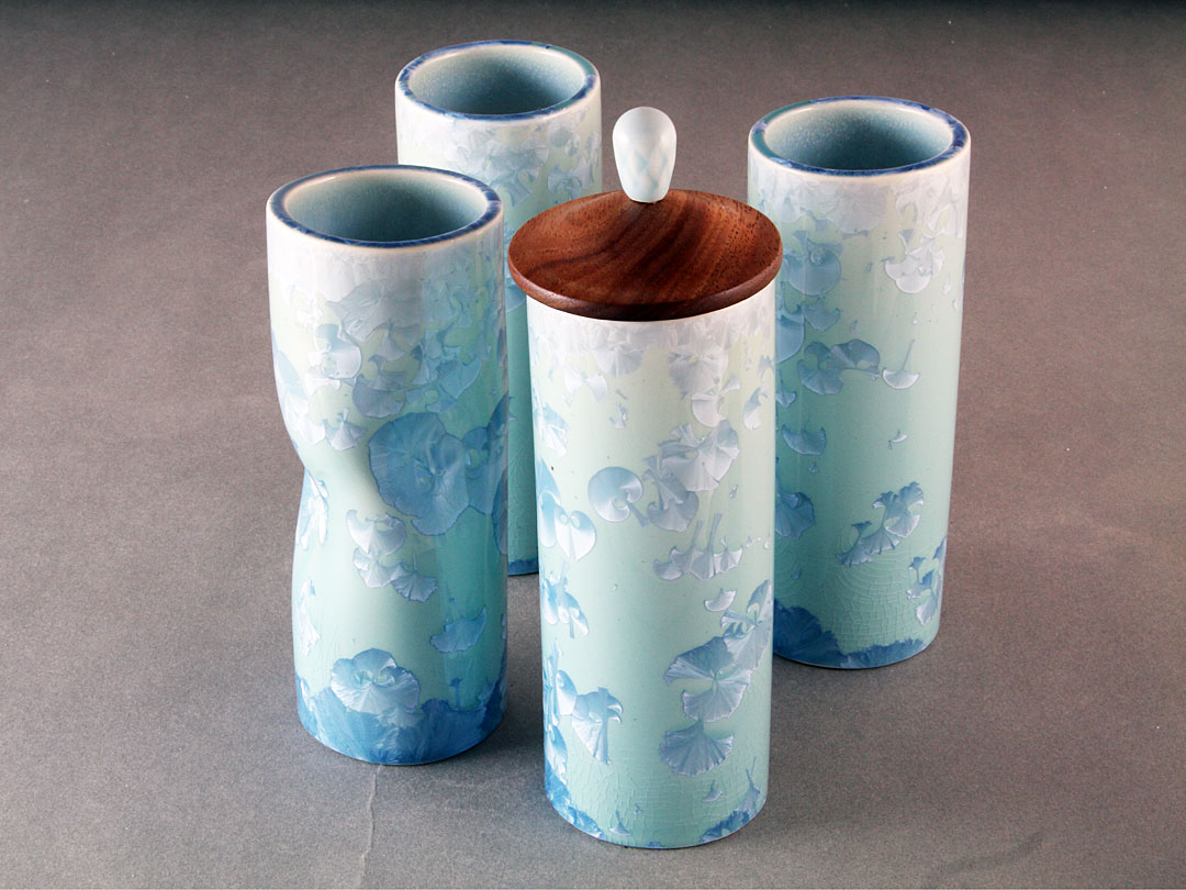 Turquoise Crystalline Tube Vase Group