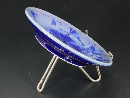 Cobalt Blue Crystalline Footed Bowl