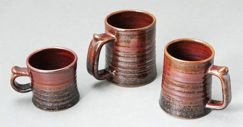 Mug and Tankard Set With Tenmoku and Kakai Glaze Combination