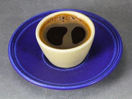 Cobalt Saucer with Yellow Demitasse Cup