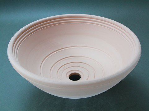 Bisque Stoneware Vessel Sink With Spiral