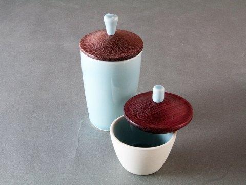 Sky Blue Porcelain Cup — Padauk Wood Lid