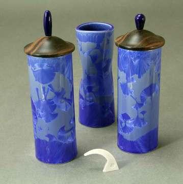 Cobalt crystalline vases with wood lids