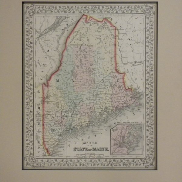 1867 Map of Maine by A  Mitchell     Mainely Maps  Frames   Gallery 1867 Map of Maine by A  Mitchell