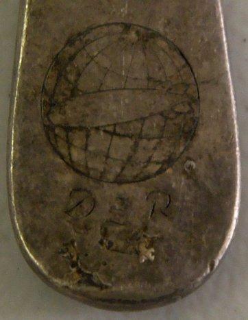 An original fork from the crash site of the Hindenburg with it's markings, DZR, for Deutsche Zeppelin-Reederei (German Zeppelin Airline Company).