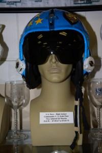 US Navy flight helmet worn by Vice Admiral Ed Martin, POW 07-09-1967 to 03-04-1973.