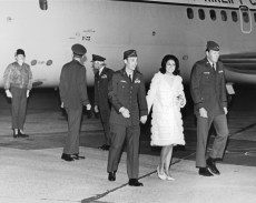 Ben Ringsdorf at Keesler AFB with Mrs. George Wallace, 1973