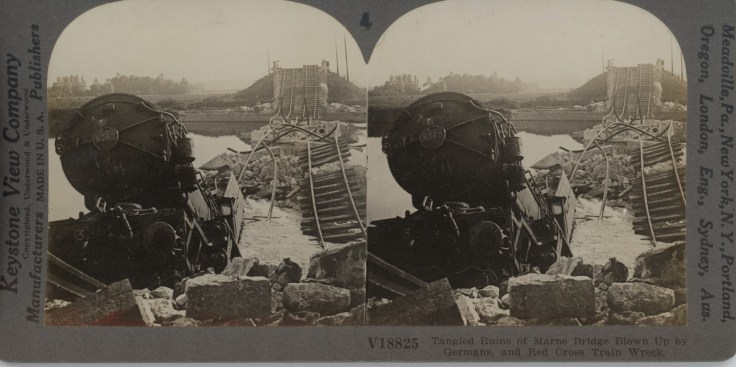 Tangled Ruins of Marne Bridge Blown Up By Germans and Red Cross Train Wreck