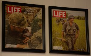 Two of the 17 Vietnam War issues of Life Magazine on display at the museum.