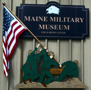 Maine Military Museum Sign with Iwo Jima Flag Raising