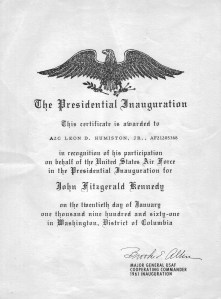 Certificate for Lee Humiston's participation in the JFK Inauguration.