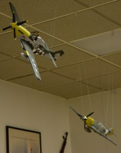 German ME-109 Messerschmidt taking out an American P-51. The pilot is bailing out...