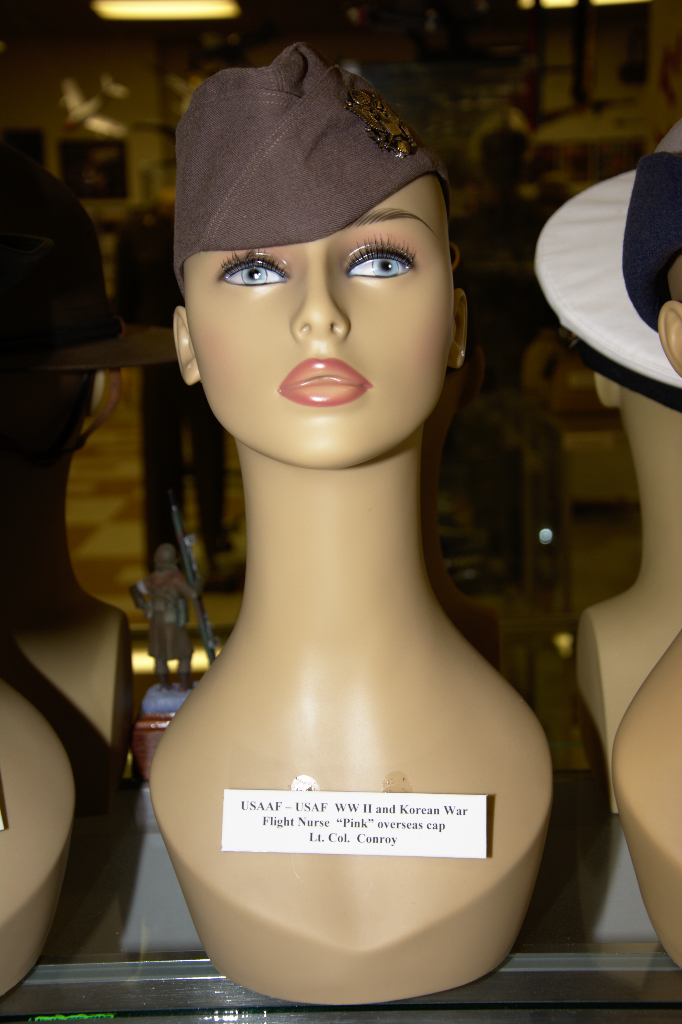 US Army Air Forces, US Air Force World War II and Korean War Flight Nurse ''Pink'' overseas cap worn by Lt. Col. Conroy.