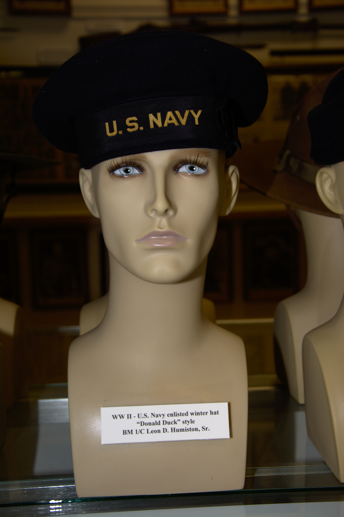 World War II US Navy enlisted winter hat worn by BM 1/C Leon. D. Humiston, Sr.