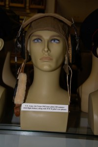 US Army Air Corps 1942 issue pilot's OD summer cloth flight helmet.
