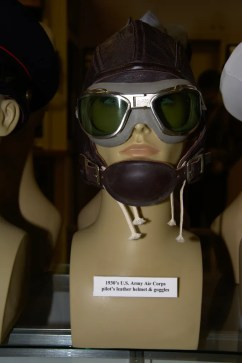 1930s US Army Air Corps pilot's leather helmet and goggles.