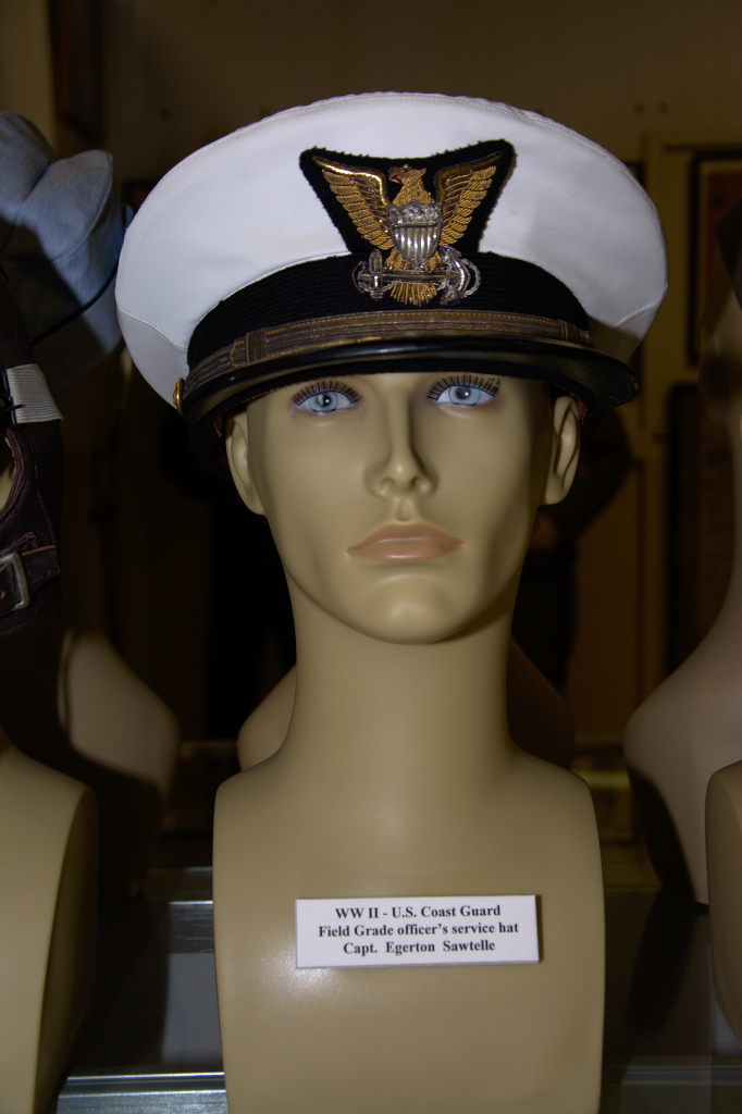 World War II US Coast Guard Field Grade officer's service hat worn by Capt. Egerton Sawtelle.