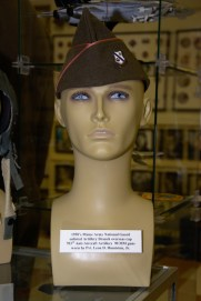 1950s Maine Army National Guard enlisted Artillery Branch overseas cap worn by Private Leon D. Humiston, Jr. of the 703rd Anti-Aircraft Artillery.