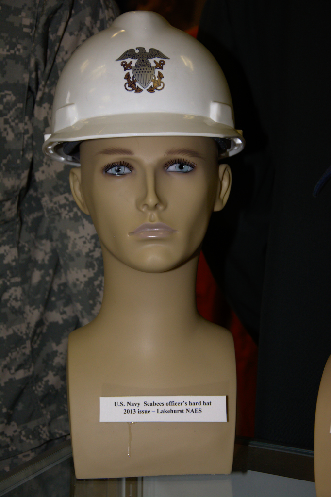 US Navy Seabees officer's hard hat , Lakehurst NAES, 2013 issue.