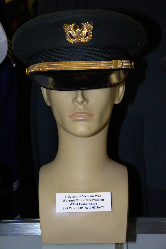 Vietnam War US Army Warrant Officer's service hat worn by WO/4 Frank Anton, POW 01-15-1968 to 03-16-1973.