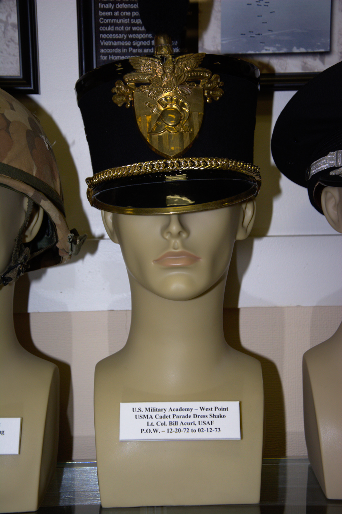 US Military Academy, West Point, Cadet Parade dress shako worn by Lt. Col. Bill Acuri, USAF, POW 12-20-1972 to 02-12-1973.