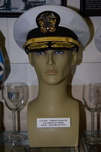 US Navy Admiral's service hat worn by Vice Admiral Joe Mobley, POW 06-24-1968 to 03-14-1973.