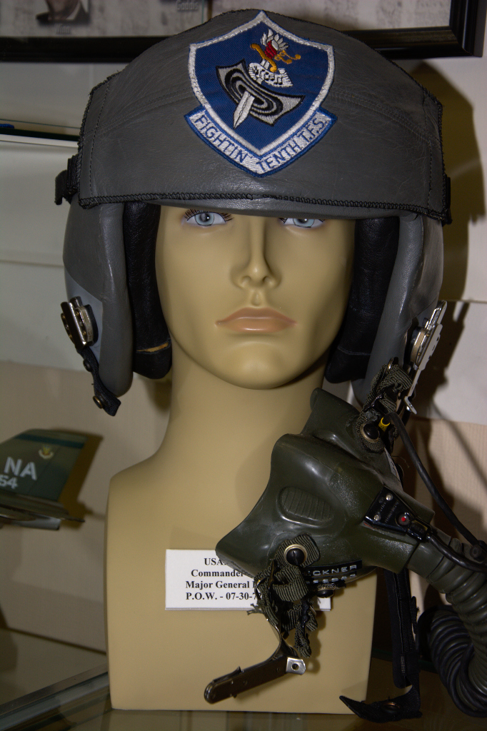 US Air Force flight helmet worn by Major General Bud Breckner, POW 07-30-1972 to 03-29-1973.