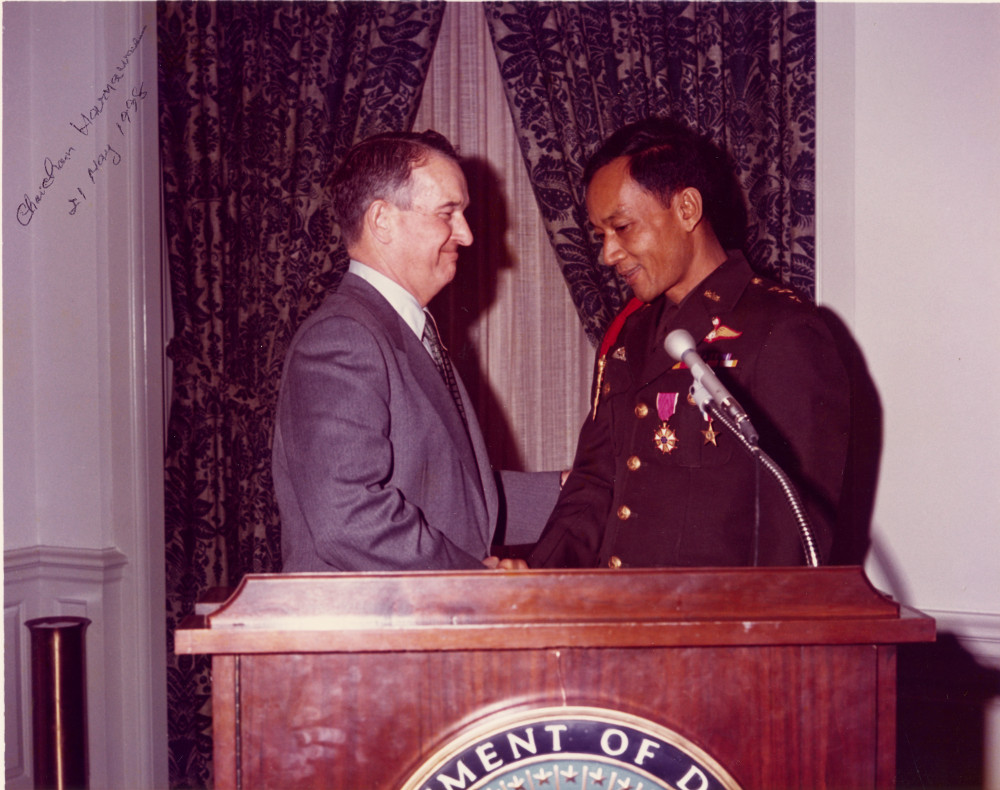 """Chaichan """"Chip"""" Harnawee accepting American decorations after homecoming - Retired as a full Col Thailand Army"""