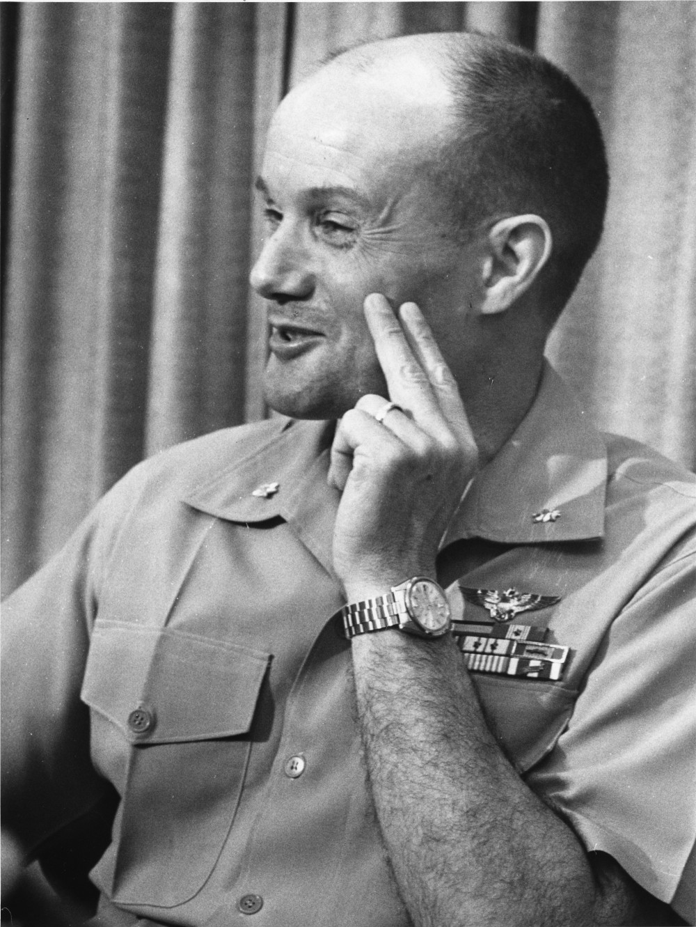 Lt Col J. Howard Dunn, US Naval Hospital, Jacksonville, FL During Press Interview