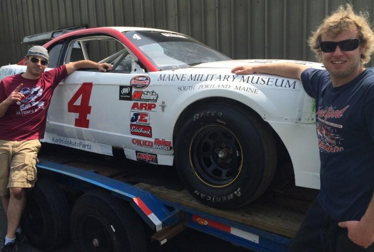 Rick Paradis and Curtis Gleason with their race car.