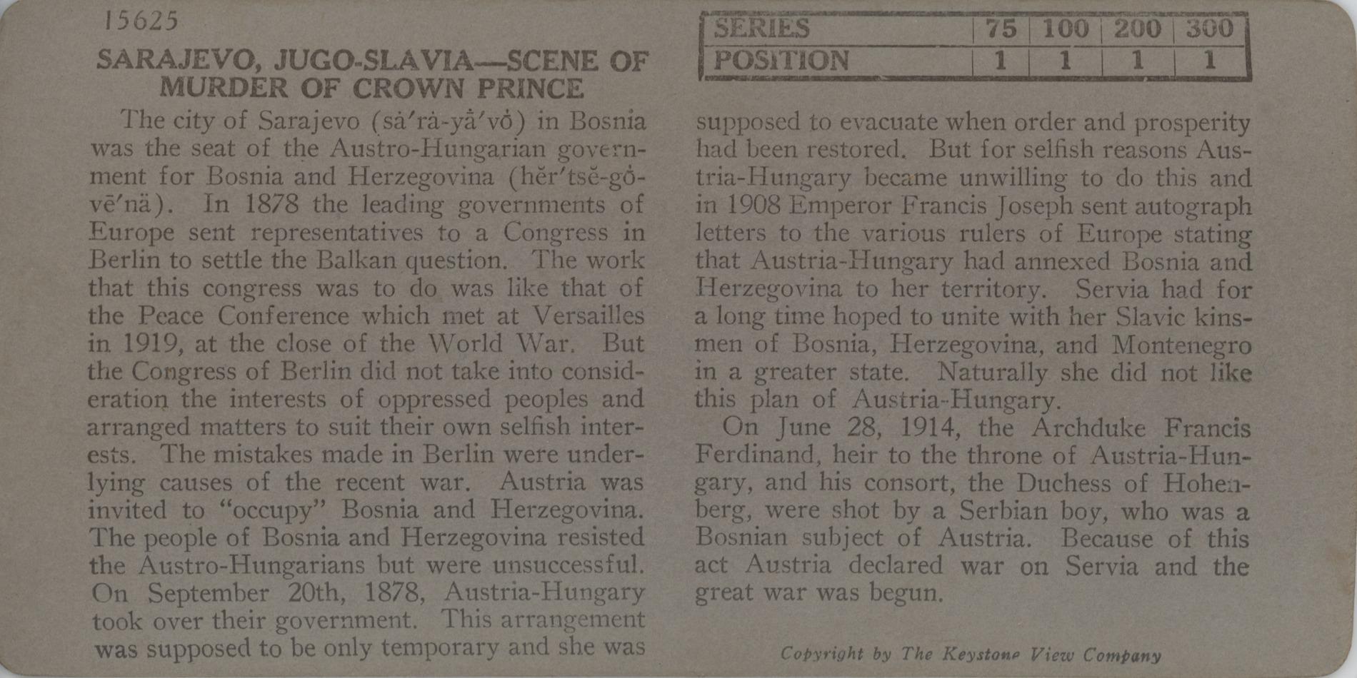 Sarajevo, Jugo-Slavia - Scene of Murder of Crown Prince