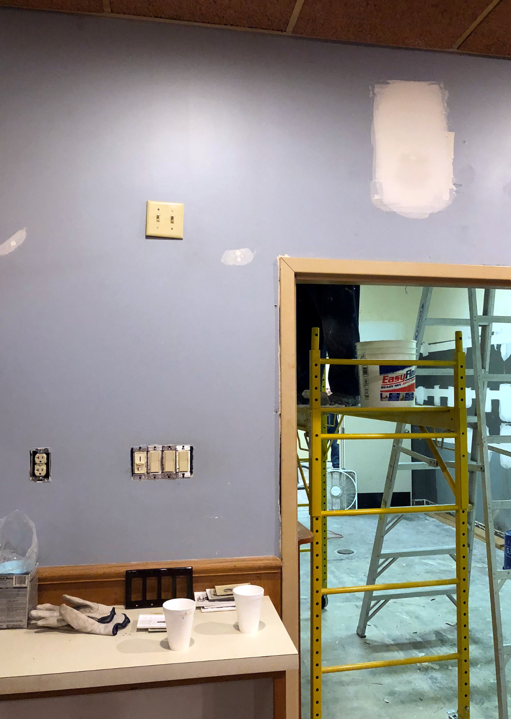 Wall and electrical repairs in the snack bar