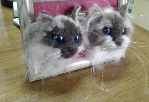リアル羊毛フェルトで作った猫