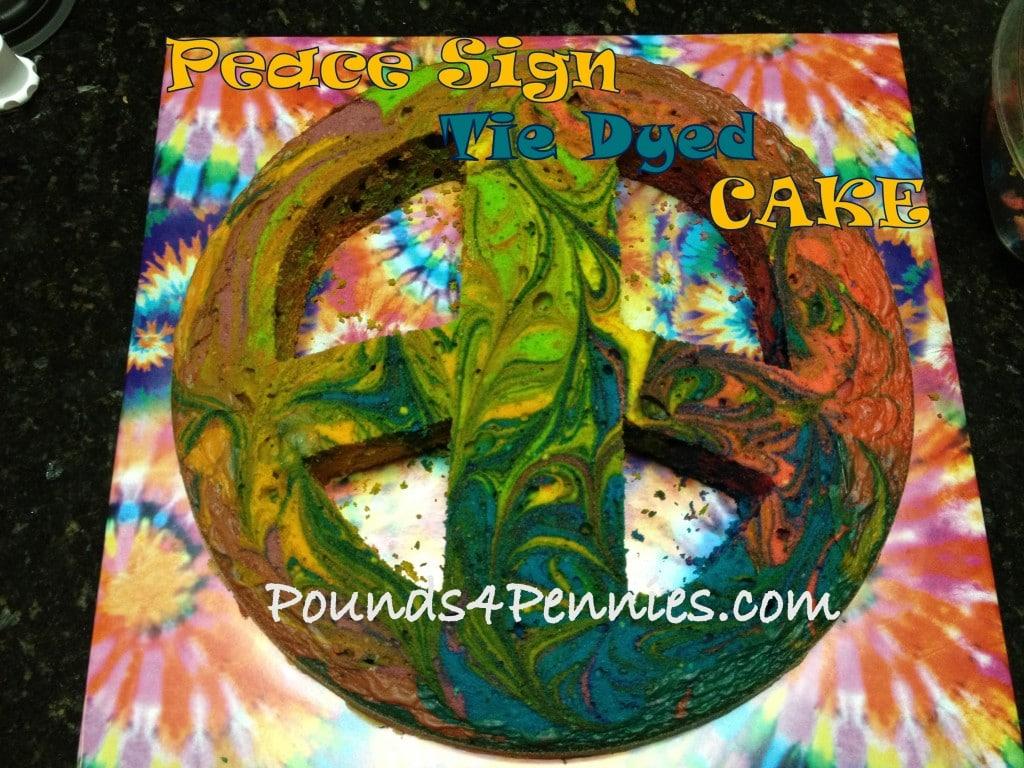 Peace Sign Tie Dye Cake