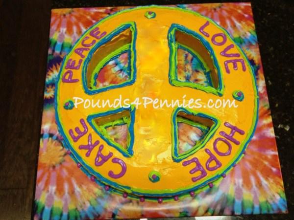Peace Sign Tie Dye Cake design