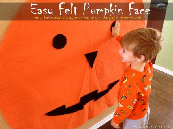 Directions to make inexpensive Felt Pumpkin Face Craft