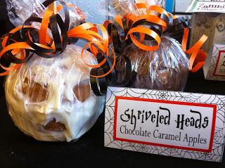 Skull Shriveled Head Chocolate Covered Caramel Apple