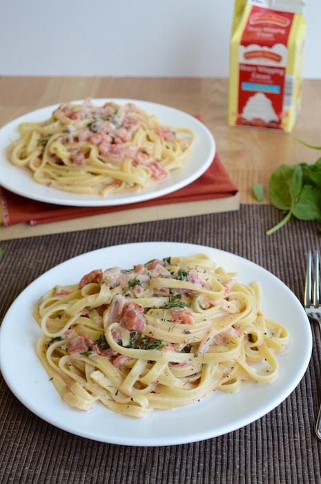 Fettuccine with Tomato Cream Sauce -Leftover Turkey recipe idea
