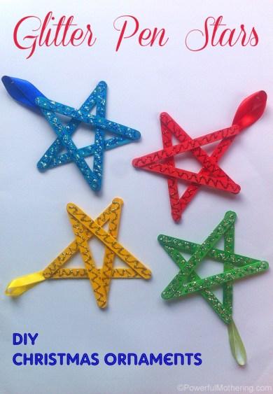 Easy christmas ornaments for kids glitter stars