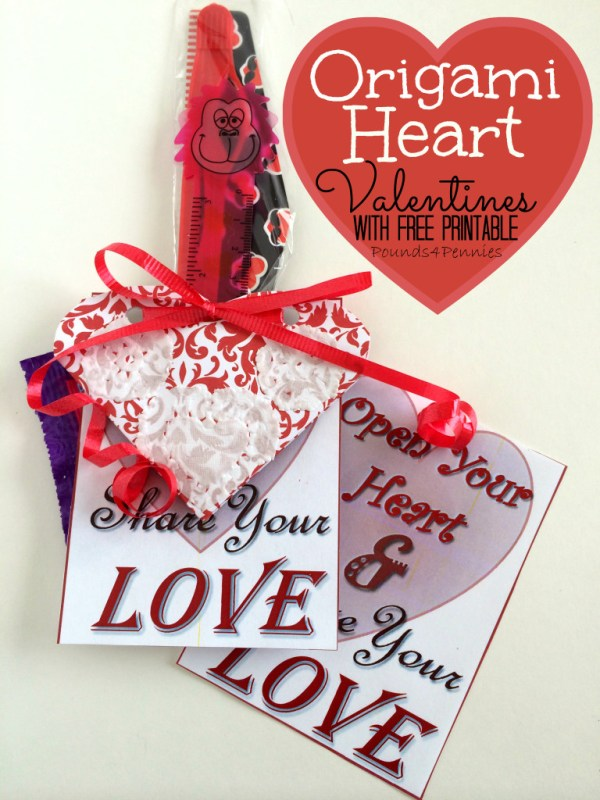 Origami Heart Valentines - Valentine Gifts to Make for Kids - Pounds4Pennies