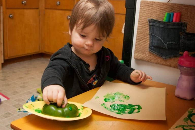 Shamrock Bell Pepper Stamping. Stamping with food.