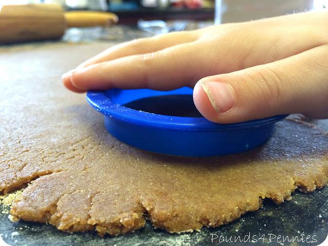 Cutting graham cracker dough