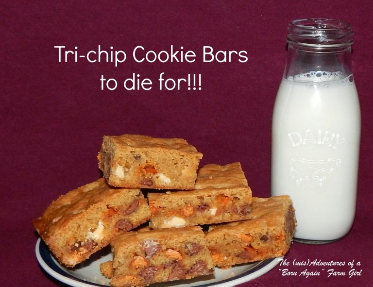 Tri-Chip Cookie Bars - The best cookie bar recipe