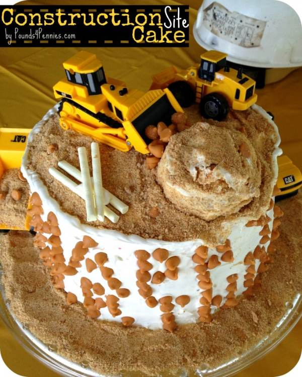 The Easiest Construction Cake to Make for a construction birthday party - Pounds4Pennies