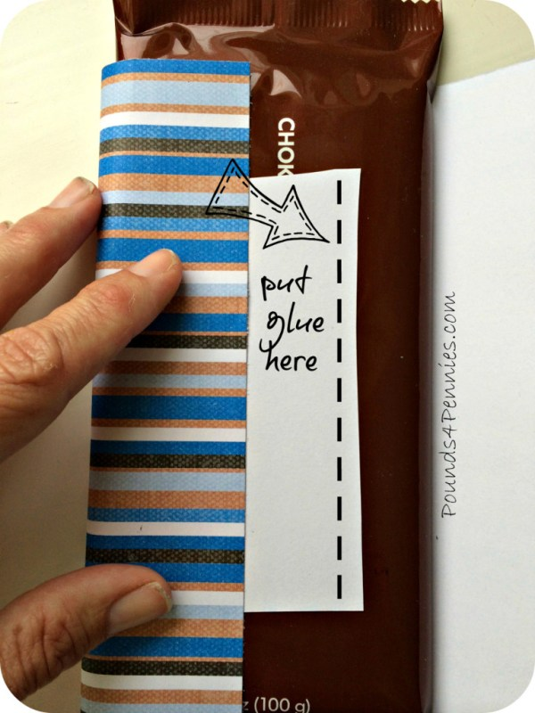 Glue Paper wrapper on chocolate bar